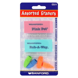 Sanford Pink Pet, Rub-A-Way, and Pencil Cap Erasers (Pack of 6)