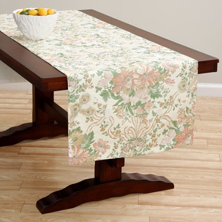 Extra Wide Italian Woven Rose/ Beige Table Runner 95 x 26 inches