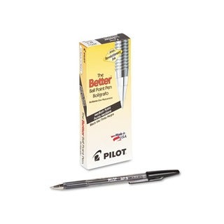 Pilot Better Ballpoint Black Medium Stick Pens (Pack of 12)