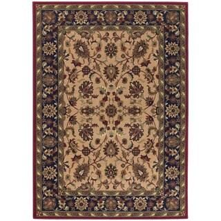 Anatolia Floral Ispaghan/ Cream-Navy Area Rug (8'2 x 11'5)