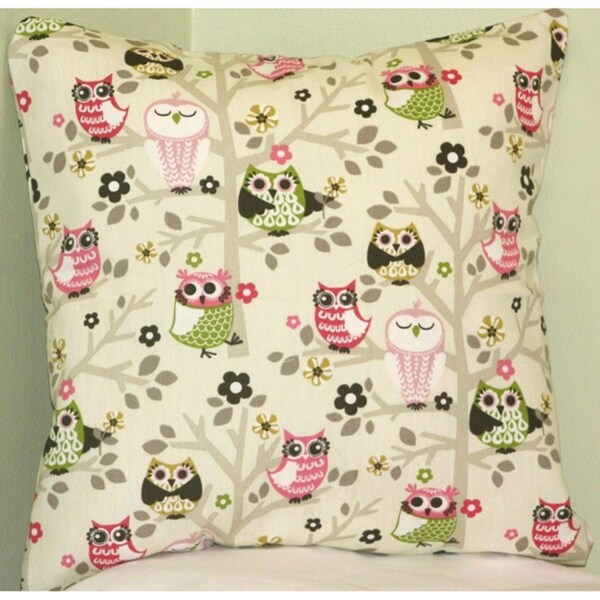 Taylor Marie 'Sit n Tree Hooty Owl' Cotton Pillow Cover