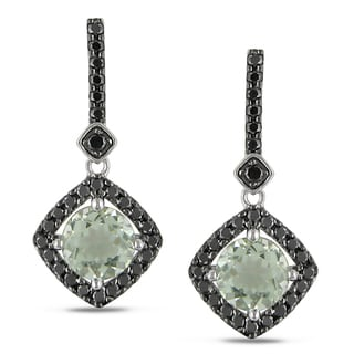 Miadora 10k Gold Green Amethyst and 3/4ct TDW Black Diamond Earrings