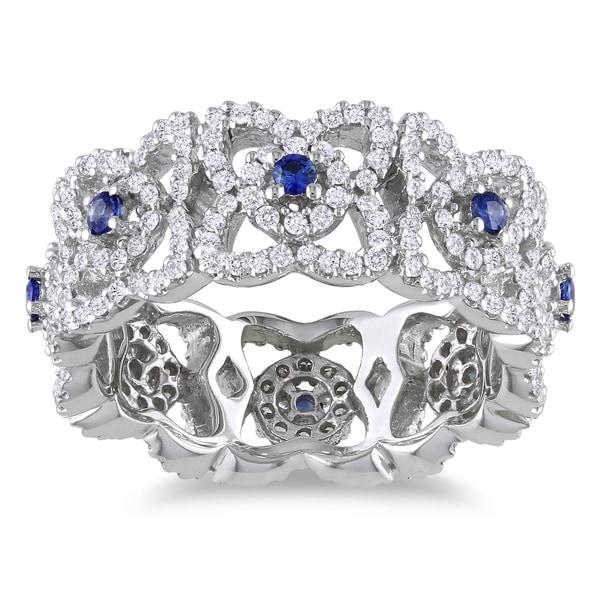 Miadora 14k White Gold 1ct TDW Diamond and Sapphire Ring (G-H, SI1-SI2)