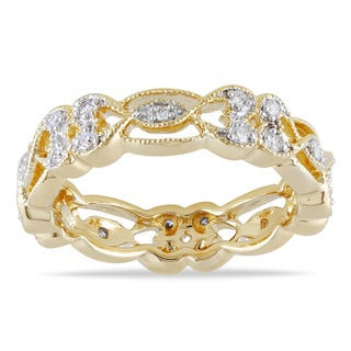 Miadora 14k Yellow Gold 1/6ct TDW Diamond Eternity Ring (G-H, SI1-SI2)