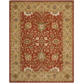 Handmade Kerman Rust/ Gold Wool Rug (9'6 x 13'6)