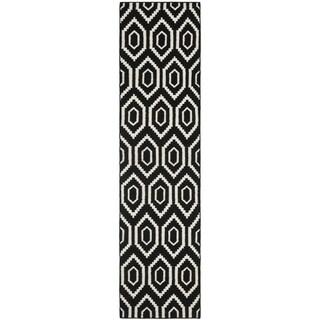 Handwoven Contemporary Moroccan Dhurrie Black Wool Runner Rug (2'6