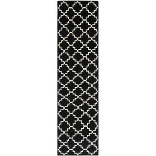 Hand-Woven Moroccan Dhurrie Black Geometric Diagonals Wool Rug (2'6 x 8')