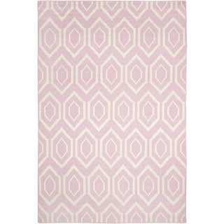 Safavieh Hand-woven Moroccan Dhurrie Pink Wool Rug (9' x 12')