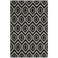 Safavieh Hand-woven Moroccan Reversible Dhurrie Black Geometric Wool Rug (6' x 9')