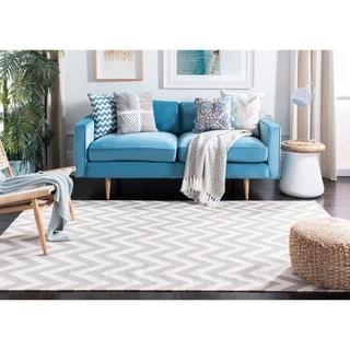 Safavieh Hand-woven Moroccan Reversible Dhurrie Chevron Grey Wool Rug (8' Square)
