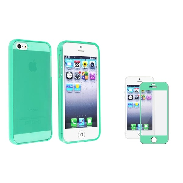 INSTEN TPU Phone Case Cover/ Colorful Frame Screen Protector for Apple iPhone 5/ 5S
