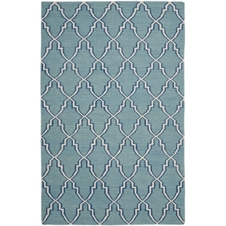 Transitional Handwoven Moroccan Dhurrie Light-Blue Wool Rug (8' x 10')