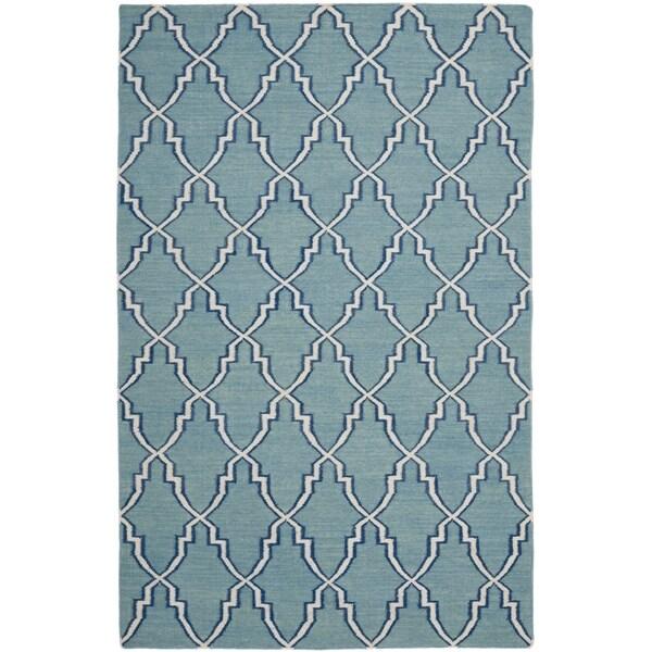 Safavieh Transitional Handwoven Moroccan Reversible Dhurrie Light-Blue Wool Rug (8' x 10')