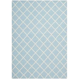 Safavieh Hand-woven Moroccan Reversible Dhurrie Light Blue Wool Rug (8' x 10')