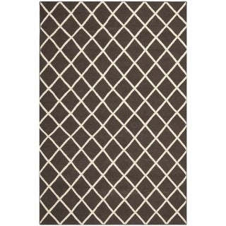 Handwoven Moroccan Dhurrie Brown Wool Area Rug (8' x 10')