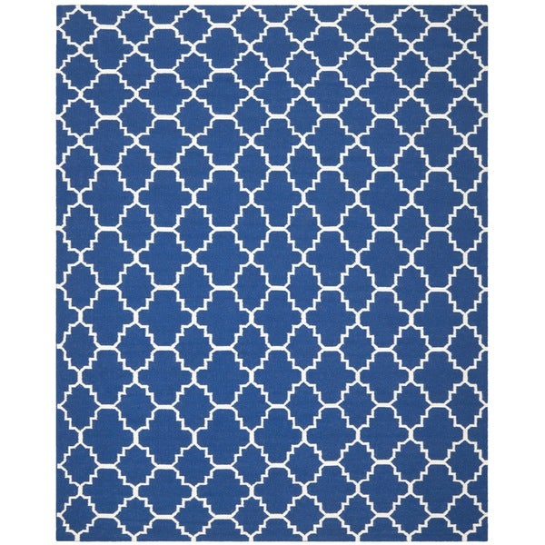 Safavieh Hand-woven Moroccan Reversible Dhurrie Dark Blue Wool Rug (6' x 9')