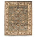 Hand-knotted Dynasty Green/ Ivory Wool Rug (5' x 8')
