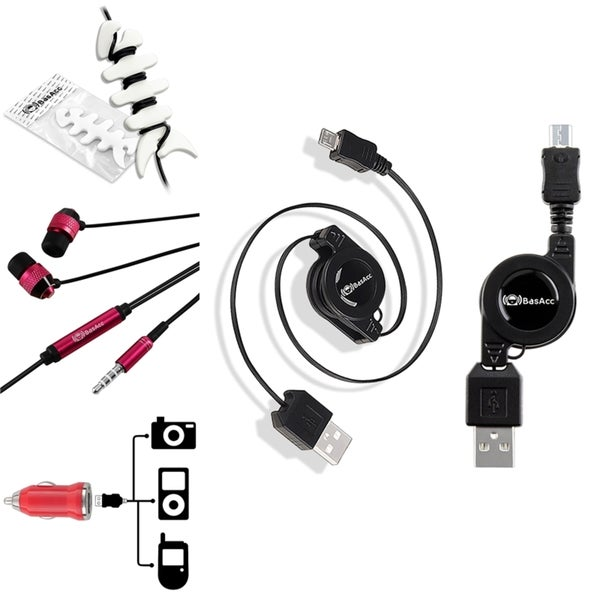 Insten Car Charger Adapter/ Retractable Micro USB Cable Cord/ Headset/ Wrap