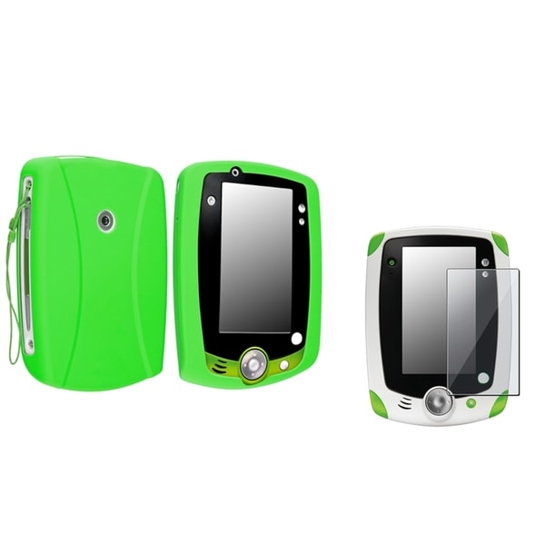 INSTEN Green Soft Silicone Phone Case Cover/ Screen Protector for LeapFrog LeapPad 2
