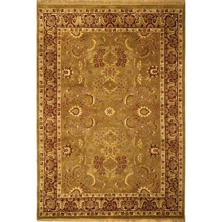 Hand-knotted Dynasty Gold/ Red Wool Rug (4' x 6')
