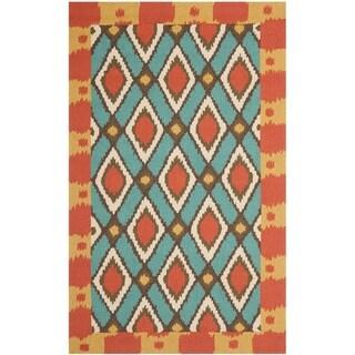 Safavieh Hand-hooked Four Seasons Indoor/ Outdoor Light Blue Rug (8' x 10')