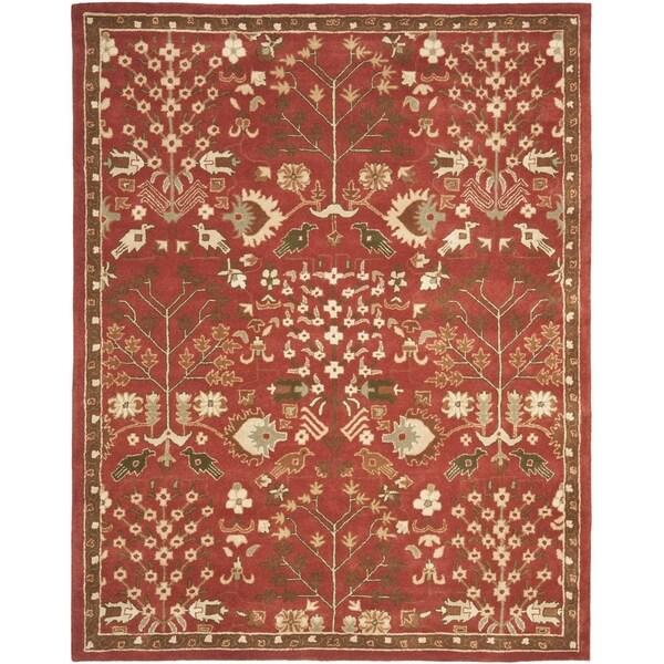Safavieh Handmade Heritage Tree of Life Red Wool Rug (9'6 x 13'6)