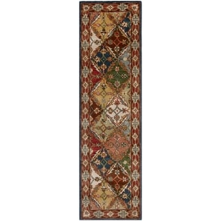 Handmade Diamonds Bakhtiari Green/ Red Wool Rug (2'3 x 10')