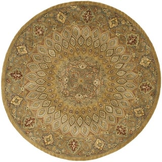 Handmade Heritage Medallion Light Brown/ Grey Wool Rug (10' Round)