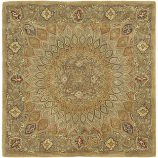 Handmade Heritage Medallion Light Brown/ Grey Wool Rug (10' Square)