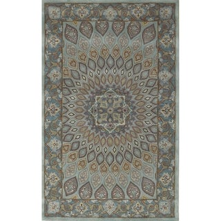 Handmade Heritage Medallion Blue/ Grey Wool Rug (5' x 8')