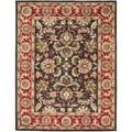 Handmade Heritage Kerman Chocolate Brown/ Red Wool Rug (8'3 x 11')