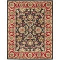 Handmade Heritage Kerman Chocolate Brown/ Red Wool Rug (6' x 9')
