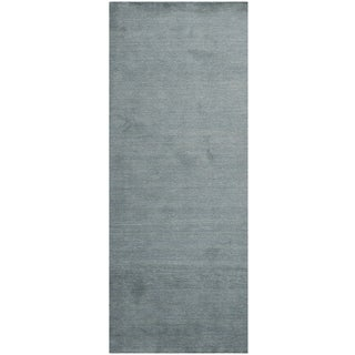 Safavieh Loomed Knotted Himalayan Solid Blue Wool Rug (2'3 x 10')
