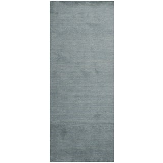 Safavieh Loomed Knotted Himalayan Solid Blue Wool Rug (2'3 x 12')