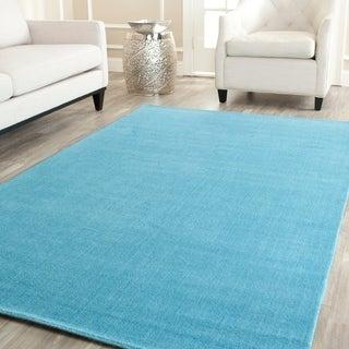 Handmade Safavieh Himalayan Solo Turquoise Blue Wool Rug (9' x 12')
