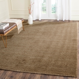 Safavieh Loomed Knotted Himalayan Solid Brown Wool Rug (8'9 x 12')