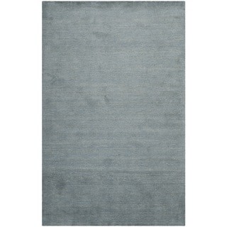 Loomed Knotted Himalayan Solid Blue Wool Rug (8'9 x 12')