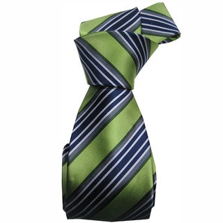Dmitry Men's Green Italian Silk Striped Tie