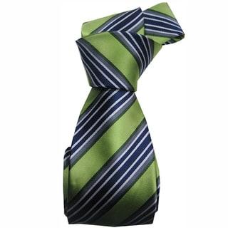 Dmitry Men's Green Italian Silk Striped Tie