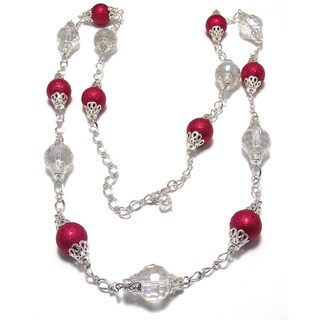 Silverplated Red Bumpy Glass Pearl and Clear AB Crystal Wedding Jewelry Set