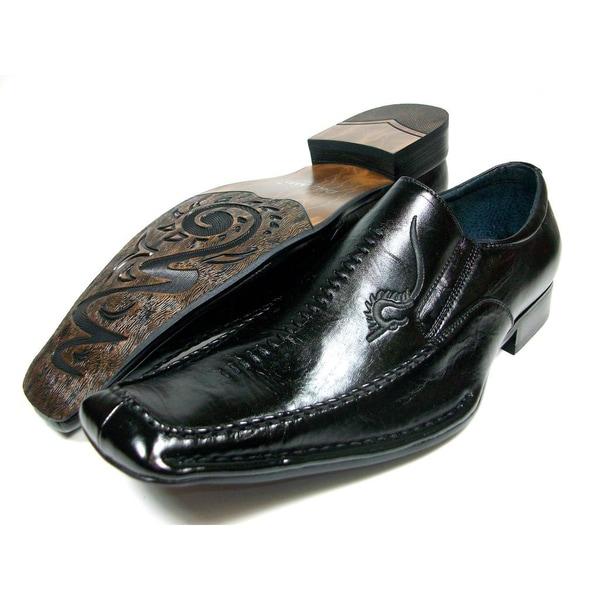 Delli Aldo Men's Dragon Embroidered Square Toe Loafers