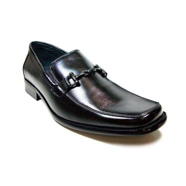 Delli Aldo Men's Black Square Toe Buckle Vamp Loafers