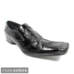 Delli Aldo Men's Cross-stitched Square Toe Loafers