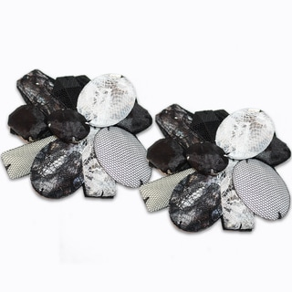Women's 'Gabriella' Black Floral Shoe Clips
