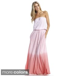 Elan Women's Ombre Dyed Strapless Maxi Dress