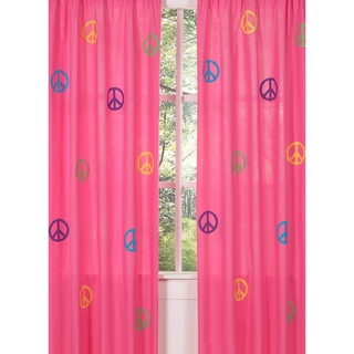 Groovy Peace Sign 84-inch Curtain Panel Pair