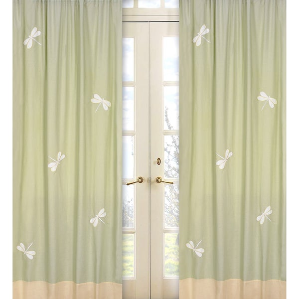 Green Dragonfly Dreams 84-inch Curtain Panel Pair