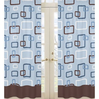Blue and Brown Geo 84-inch Curtain Panel Pair