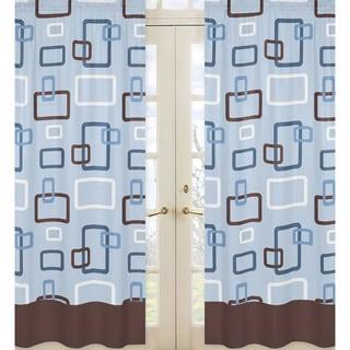 Sweet Jojo Blue and Brown Geo 84-inch Curtain Panel Pair