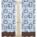 Sweet Jojo Blue and Brown Geo 84-inch Curtain Panel Pair